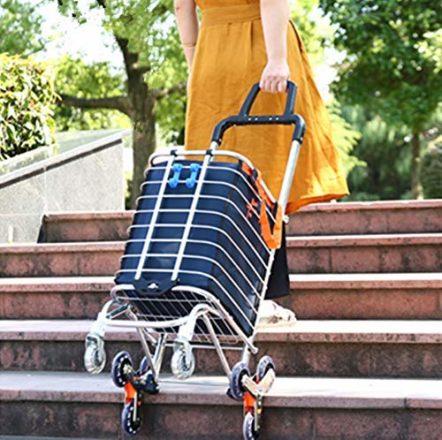 arkmiido zusammenklappbarer einkaufswagen tragbarer lebensmittellieferant leichter treppensteigewagen mit drehbaren rollen und abnehmbarer wasserdichter tasche aus canvas blau 442x440 - Einkaufswagen - damit shoppen einfacher wird
