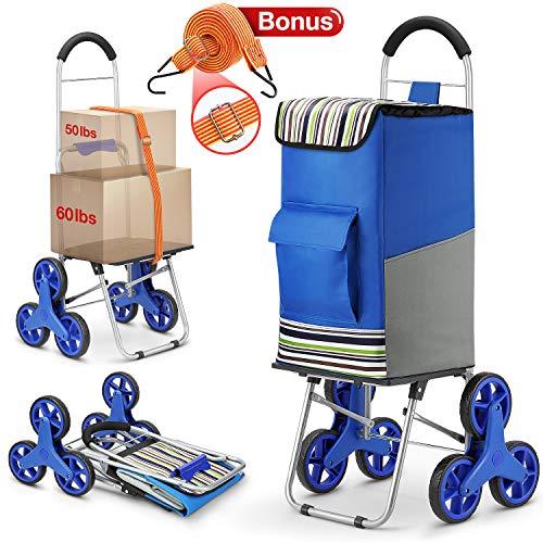 Winkeep Einkaufstrolley, 2 in 1 Klappbar Einkaufswagen 75L Kapazität & Sackkarre Super Laden 50Kg - Arbeitsersparnis Treppensteigen mit Verstellbarem Spannseile, 3 Große Geräuschlose Räder