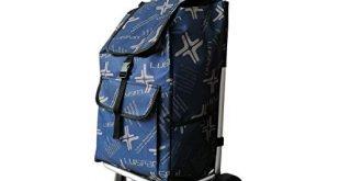 DoubleBlack Einkaufswagen mit 2 Silent Wheels Abnehmbare Tasche Aluminiumlegierung Klappzug Schubwagen Max. Kapazität 40 kg für ältere Menschen, 101 x 44 x 34 Zentimeter, 48L - Navy Blau