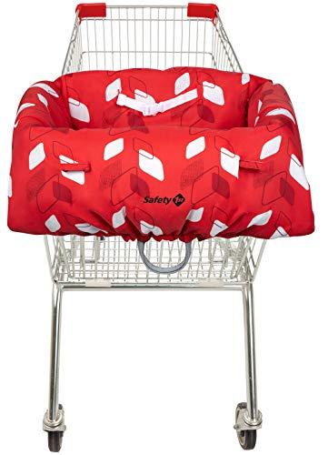 Safety 1st Einkaufswagen-Hygieneschutz für das Kind, Haltegurt für optimale Sicherheit, platzsparend in der Transporttasche verstaubar, campus rot