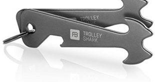 2 FABACH Trolley Shark Blacky Einkaufswagenlöser Schlüsselanhänger - Abziehbarer Einkaufswagenchip, Einkaufschip für Einkaufswagen aus Edelstahl/Metall - Kein Steckenbleiben im Pfandschloss